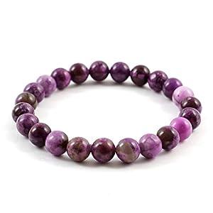 Purple Sugilite Gemstone Bracelet 7.5 inch Stretchy Chakra Gems Stones Healing Crystal Energy Quartz Rocks GB8B-48