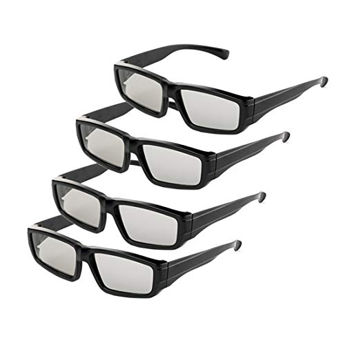 4 Pack Unisex Passive Polarized 3D Glasses for LG, Sony, Panasonic, Toshiba, Vizio and all Passive 3D TVs RealD 3D Cinema glasses for Watching Movies Family Pack New Circular Polarized Lenses