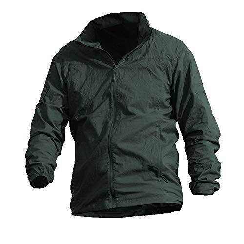 Chaqueta de verano de los hombres con capucha chaqueta delgada cortavientos protector solar impermeable del ejército ventilador chaqueta - verde - XXX-Large