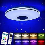 Porcyco Plafoniera a LED con altoparlante bluetooth e telecomando 36W, paralume cielo stellato, cambio colore RGB dimmerabile, 3220-2100 LM, cambio colore, lampada a sospensione (controllo APP)