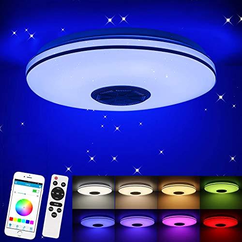 Porcyco 36W LED Deckenleuchte mit Bluetooth Lautsprecher, Fernbedienung oder APP-Steuerung, Farbwechsel-Option, 3220-2100 LM Dimmbare Deckenleuchten für Wohnzimmer, Kinderzimmer, Schlafzimmer