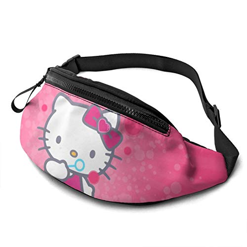 Yugy Anime Hello Kitty for Men Women Fanny Packs Waist Pack Bag with Headphone Jack and Adjustable Straps Belt Bags Super Lightweight Cute Fashion Waist Bag