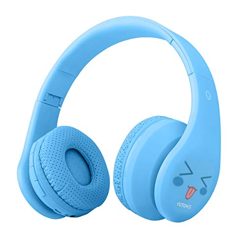 Auriculares inalámbricos para niños, auricular Bluetooth en la oreja, material de aceite de goma plegable ajustable liviano Auricular Compatible para tabletas de teléfonos inteligentes Laptop - Azul