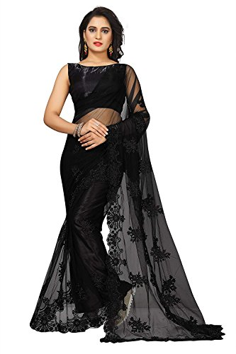Radiance Star Women's Heavy Net Embroidered Work Plain Weave Floral Figure Saree with Stone Work, Pearl Work and Blouse Piece (Black)