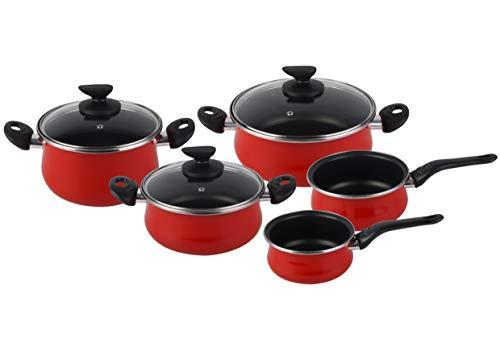 Magefesa Praga - Batería de Cocina 8 piezas. Material acero vitrificado exterior rojo. Antiadherente bicapa Reforzado. Apta para todo tipo de cocinas, especial inducción. 50% de ahorro energético.