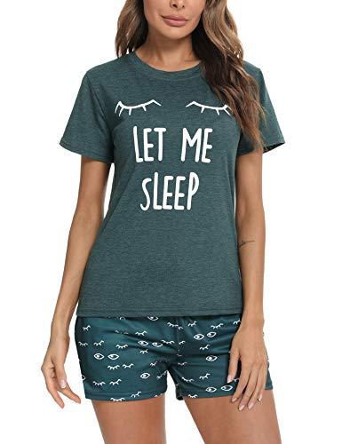 Aibrou Pijama Mujer, Conjunto Pijama Mujer Ropa de Casa Dormir de Manga Corta en Cuello Redondo Pijama EstampadoConjuntos Camiseta y Punto de Onda Pantalon Mujer per Casual Verde Oscuro M