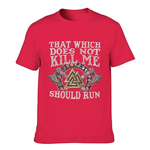 Herren T-Shirts Nicht Mich töten Wikingerlauf Gedruckt Wissenschaft Kurzarm T-Shirt Weihnachten red1 3XL