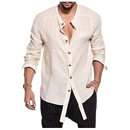 N\P Camisa de manga larga para hombre, cuello alto, algodón, cáñamo, informal, para hombre