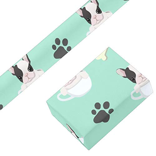 CUXWEOT Gift Wrapping Paper French Bulldog Puppy for Christmas,Birthday,Holiday,Wedding,Gifts Packing - 3Rolls - 58 x 23inch Per Roll
