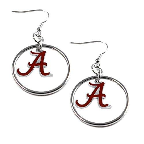 NCAA Alabama Crimson Tide Floating Logo Hoop Earrings