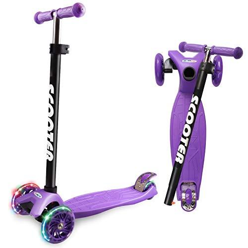 Cutemelo - Patinete infantil de 3 a 12 años, patinete de tres ruedas con luces intermitentes LED y manillar regulable en altura, scooter de 3 ruedas antideslizantes para niños y niñas (morado)