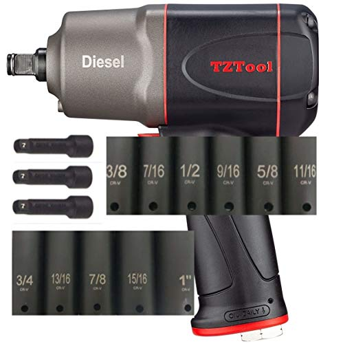 TZTool 1/2' air Impact wrench kit [ inch size sockets ]