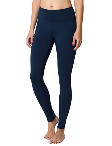 BALEAF Women's Fleece Lined Winter Leggings Thermal Yoga Pants Inner Pocket Dark Blue Size L