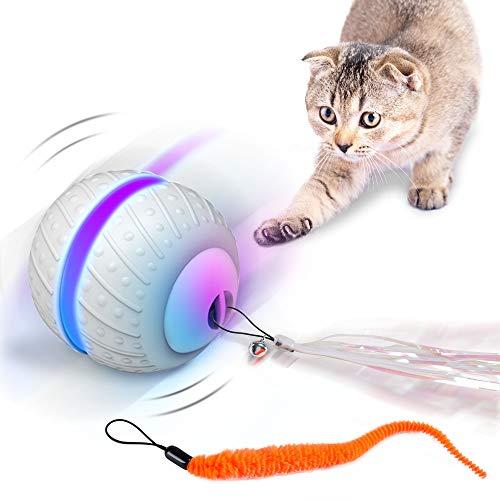 HAPPY HACHI Bola Interactiva Gato Juguetes con Plumas Interactivos para Gatos Pelotas con Carga USB Luz Led Inteligente para Animales Gatito 2 Modos Movimiento