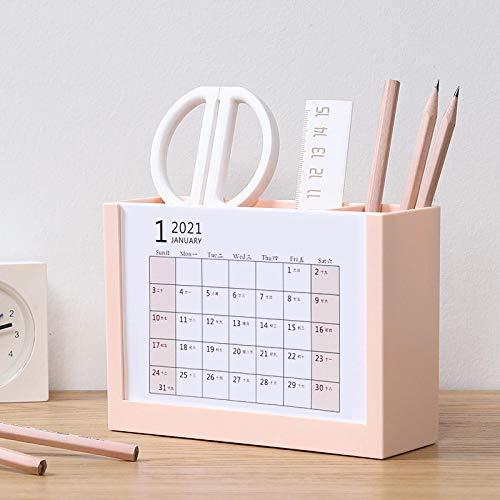 Soporte para bolígrafo, calendario 2021, creativo, para escritorio, calendario, bolígrafo, escritorio, oficina, oficina, decoración de escritorio, color rosa