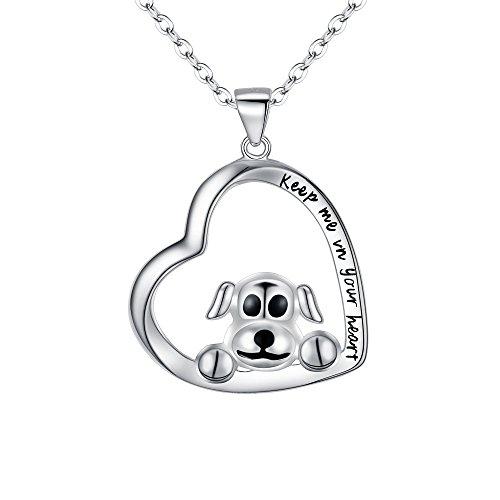EVER FAITH Collar de plata de ley 925 con colgante de corazón de perro con palabras grabadas,...