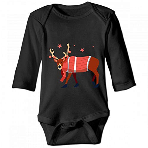 KioHp Christmas Reindeer Anler for Merry Christmas for Christmas Unisex Baby Reindeer Lanmouwen Body, Modieus casual baby klimpak zwart