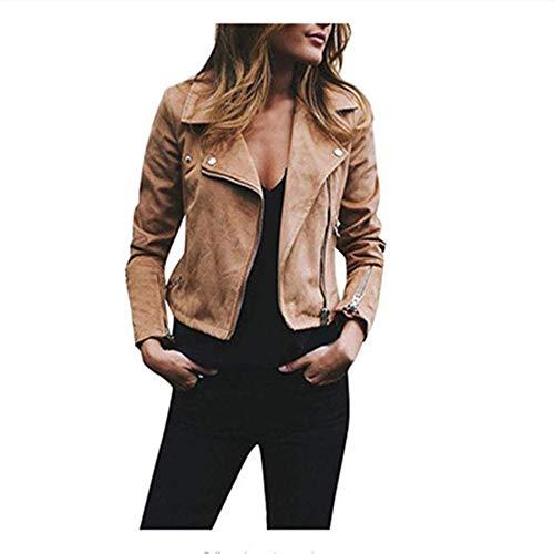DISCOUNTL Damen-Jacke, für Herbst und Winter, diagonaler Reißverschluss, kurz, lässige Jacke (Artikel enthält nur Oberbekleidung) Gr. XXX-Large, Khaki