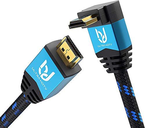 Ultra HDTV Premium 4K Highspeed HDMI 2.0b Kabel 10 Meter mit 270 Grad Winkelstecker, 4K@60Hz (ruckelfrei), Knickschutz Nylon-Mantel, HDMI Kabel mit 1 x 270° Winkel Stecker und 1 x geradem Stecker