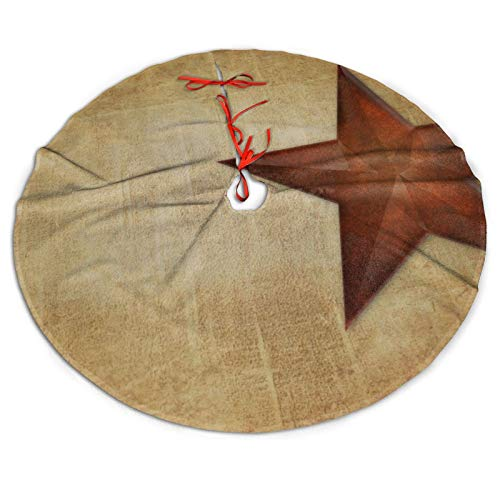 CLERO& Christmas Tree Skirt 30Inch Rustic Barn Star Western Xmas Tree Skirt for New Year Holiday Party Home Decorations Ornaments
