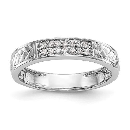10k White Gold Diamond Trio Ladies Wedding Band Ring, Size 54