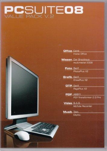 PCSuite 08 Value Pack V.2 - OEM (Corel Home Office, Der Brockhaus multimedial 2008, Serif PhotoPlus X2, Serif DrawPlus X2, ABBYY PDF-Transformer 2.0 Pro, S.A.D. MyTube Recorder, Tobit ClipInc.)