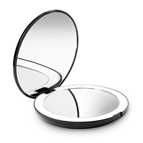 "Fancii LED Lighted Travel Makeup Mirror, 1x/10x Magnification - Daylight LED, Compact, Portable, Large 5"" Wide Illuminated Folding Mirror"