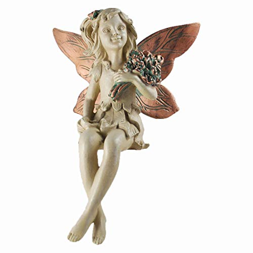 Forest Fairy étagère Sitter avec bouquet en cuivre Blanc a