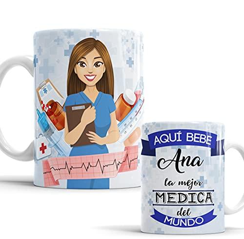 Taza Aquí Bebe la Mejor Médica del Mundo/Taza aqui Bebe una Super Médica/Taza Personalizada con Nombre/Taza Regalo Original para Médica (Médica)