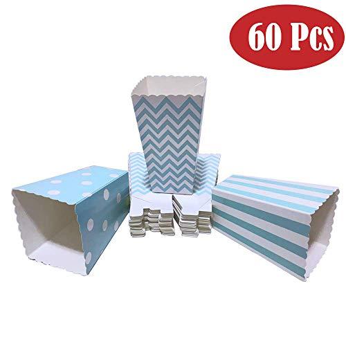 Winiron 60pcs Cajas de Palomitas Cartón Caramelo Contenedor Cine Pequeñas Cajas de Palomitas de Maíz 12 x 7.5cm (Azul)
