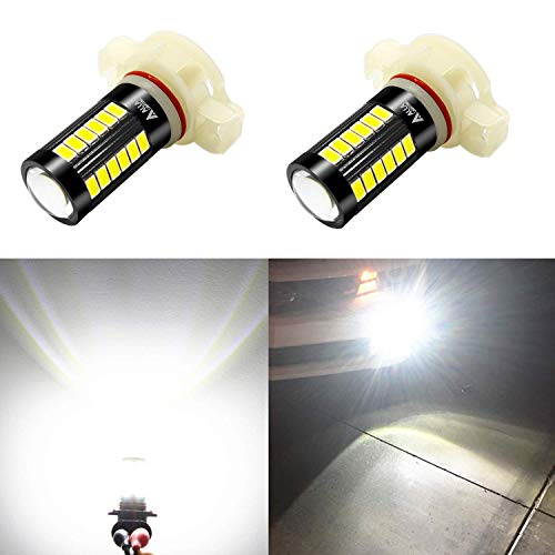 Alla Lighting 5201 DRL PS19W 5202 LED Fog Lights Bulbs 9009 PS24W FF 12085 C1, 6000K Xenon White 2800lm Xtreme Super Bright 5730 33-SMD 12V
