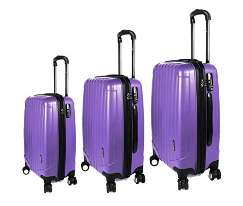 Luggage X - Set of 3 Lightweight Hard Shell Slimline Trolley Suitcases 28' + 24' + 21' (Acai Purple)