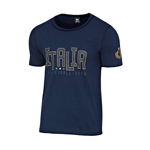 Errea - T-Shirt der italienischen Volleyball-Nationalmannschaft - Weiß - Unisex, damen, blau, XXS