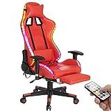 Juhuitong LED Gaming Stuhl mit Fußstützen und Massage, Home Office Ergonomischer Computerstuhl PU Leder mit Kopfstütze und Lendenwirbelkissen Beleuchtung PC Gamer Stuhl für Erwachsene Teenager Rot