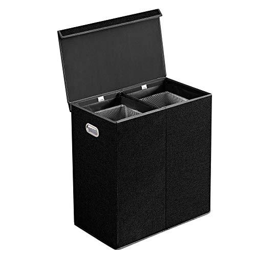 BRIAN & DANY 150L Wäschekorb Zwei Fächer Wäschebox Faltbar Wäschesammler Wäschetruhe Wäschetonne mit Magnetischem Deckel, 65 x 64 x 36 cm, Schwarz