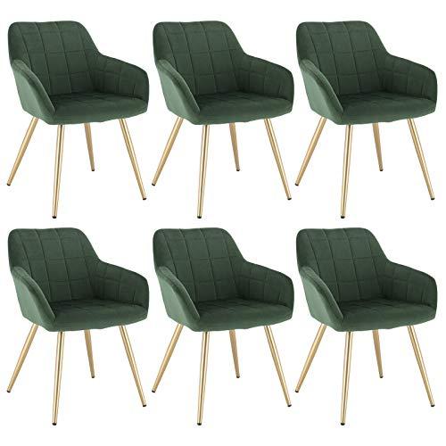 WOLTU 6 x Esszimmerstühle 6er Set Esszimmerstuhl Küchenstuhl Polsterstuhl Design Stuhl mit Armlehne, mit Sitzfläche aus Samt, Gestell aus Metall, Gold Beine, Dunkelgrün, BH232dgn-6
