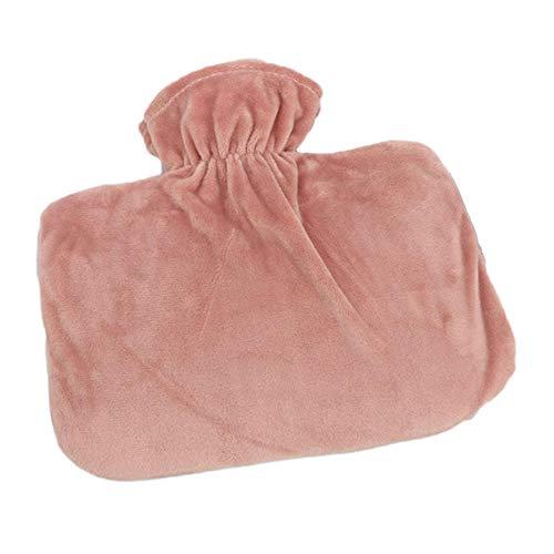 Wärmflasche, 1,5 l, PVC-Wärmflaschen mit weichem Fleece-Handwärmer, Linderung bei Arthritis-Kopfschmerzen, Rosa, 20 x 30 x 5 cm