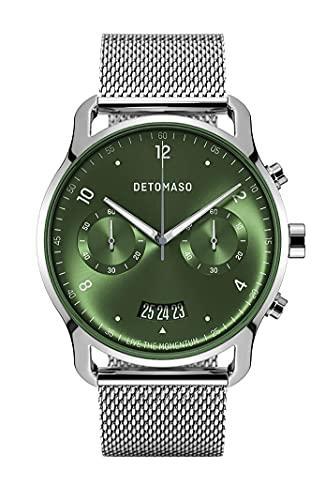 DETOMASO SORPASSO Chronograph Limited Edition Silver Green Herren-Armbanduhr Analog Quarz Mesh Milanese Siber