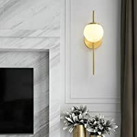 林クリエイティブパーソナリティ銅アートグラスボール壁ランプ、電源:三色のライト(シングルヘッド) HDJ (Color : Single Head)