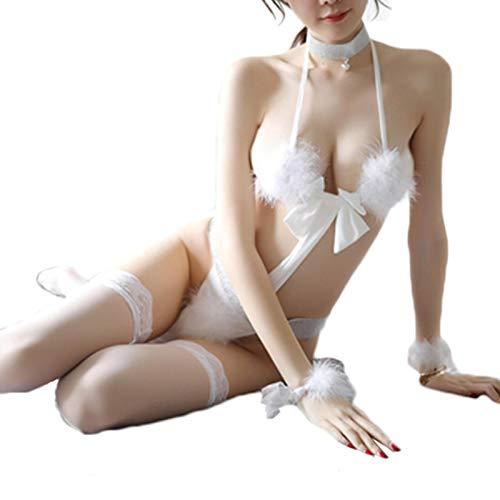 TIANLU Frauen Sexy Dessous Kostüm Fluffy Furry Cosplay Katze Outfit Bikini Babydoll Bodysuit Dessous Sets Weiße Uniform(Weiß/Freie Größe)