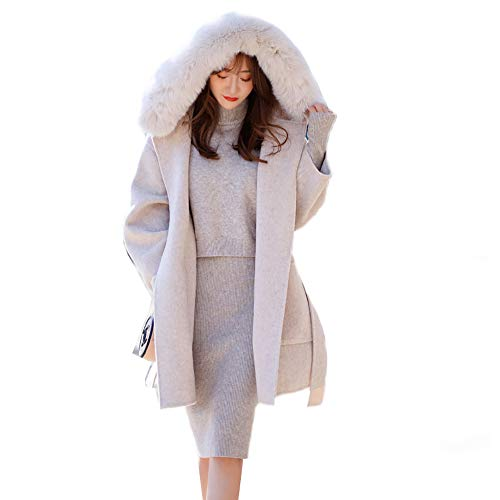 KgByy Trench winterjas voor dames, lange winterjas, casual, warm met capuchon, damesmantel van katoen-mengweefsel, XS ~ M