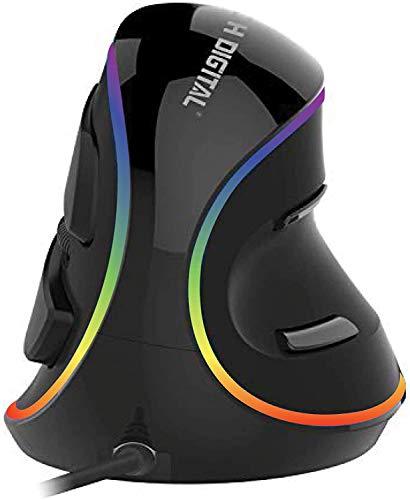 JTD Mouse Ottico Mouse Verticale ergonomico con sensibilità Regolabile (600/1000/1600 dpi), poggiapolsi e Pulsanti Removibili per Il Pollice - Riduce Il Dolore alla Mano/al Polso (RGB)