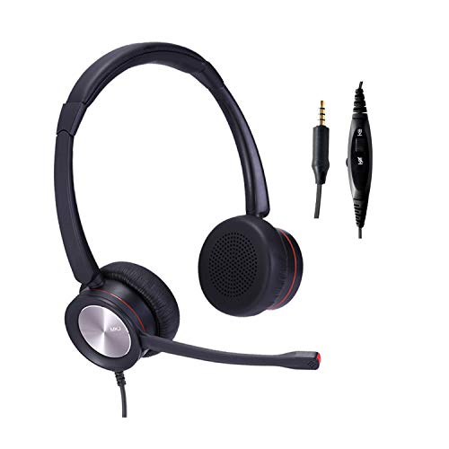 3.5mm Telephone Headset with Noise Cancelling Microphone Corded Cell Phone Headset Dual Ear Volume Mute for Computers Laptops Tablets Mobile Phones etc