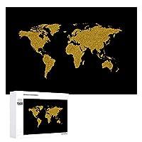 INOV 金黒い世界地図 ジグソーパズル 木製パズル 1000ピース インテリア 集中力 75cm*50cm 楽しい ギフト プレゼント