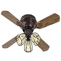 シーリングファンライト シーリングファン 天井ファンライトとリモートの古典的なデザインの天井ファンが付いている光の可逆ブレードの天井のファンの水晶天井のファン