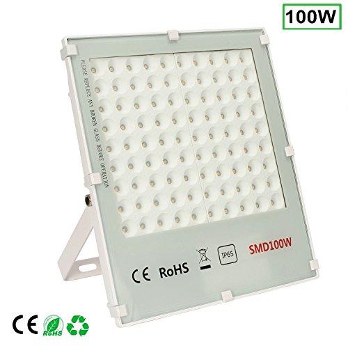 Öuesen 100W LED schijnwerper 8000lm schijnwerper neutraal wit IP65 waterdicht LED buitenverlichting buitenspot schijnwerper spot spot koplamp vervangt 250W hogedruknatriumlamp, wit