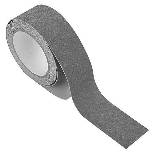 Cinta antideslizante-5M * 5cm Cinta de Agarre Tiras Grano de tracción Cinta Adhesiva de PVC Antideslizante para Escalera Escalera Decoración de Seguridad del Piso, 8 Colores(Gris)