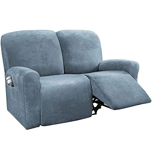 H.VERSAILTEX 6-Pieces Recliner Loveseat Covers Velvet Stretch Reclining Couch Covers for 2 Cushion Sofa Slipcovers Furniture Covers Form Fit Customized Style Thick Soft Washable(Medium, Stone Blue)
