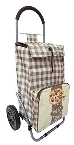 Bo Time Chariot de Courses Pliable avec Poche Isotherme et Poche Porte Parapluie - Capacité 43L