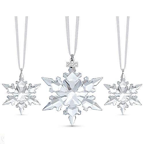 Swarovski Ornament Set, Jahresausgabe 2020 und Zwei Edle Swarovski Kristalle in Schneeflocken-Form, mit Prachtvollen Satinbändern und Metalletiketten